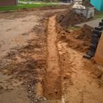 Fundamentgraben mit Sand